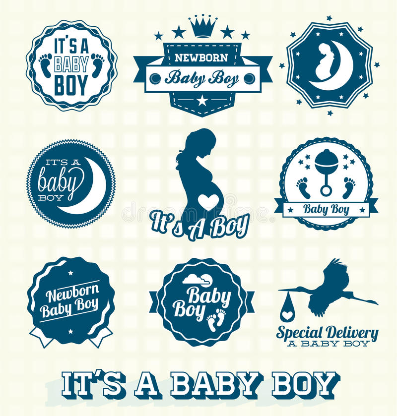 Download Vector Set: Its A Baby Boy Labels Stock Vector - Image: 31333108