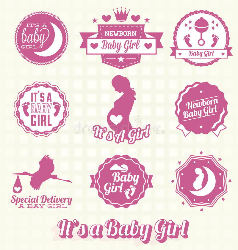 Vector Set: Its A Baby Girl Labels Stock Photography