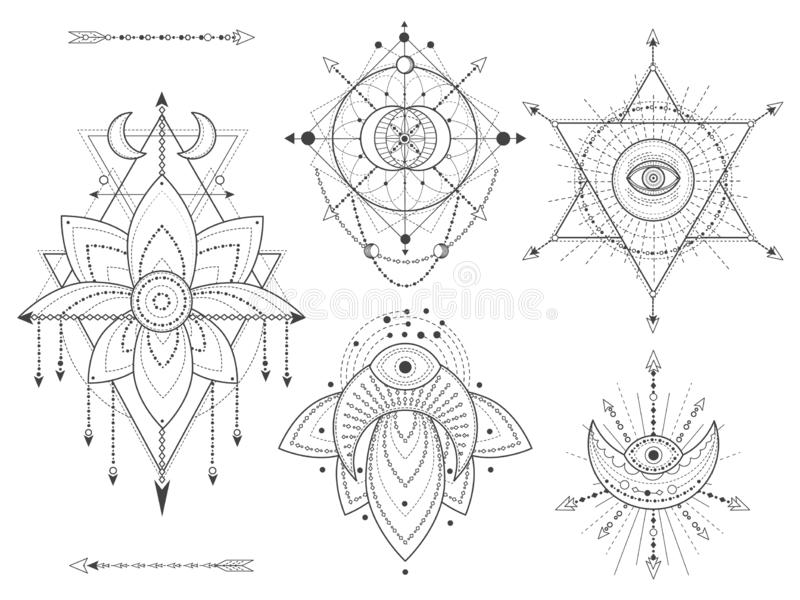 Vector set of Sacred geometric and natural symbols on white background. Abstract mystic signs collection vector illustration