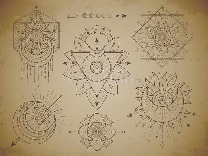 Vector set of Sacred geometric symbols and figures on old paper grunge background. Abstract mystic signs collection royalty free illustration