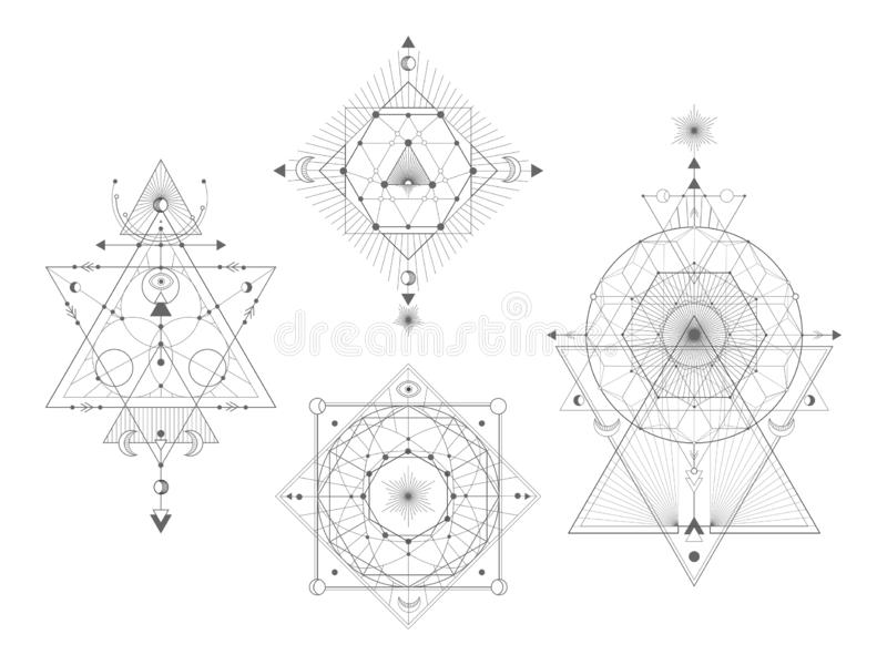 Vector set of Sacred geometric symbols on white background. Abstract mystic signs collection. stock illustration