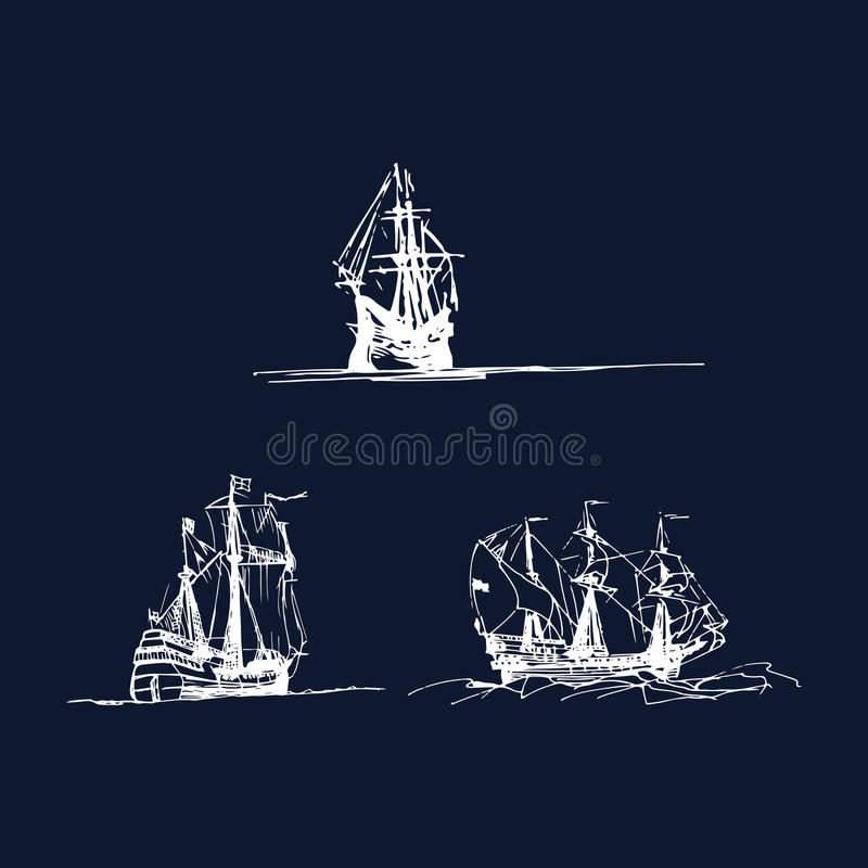 Vector set of sailing galleon ships in the ocean in ink line style. Hand sketched old warships. Marine theme design. vector illustration