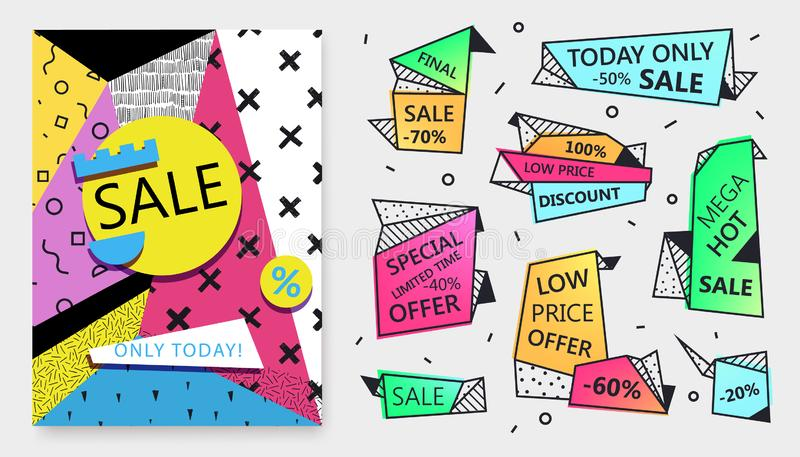 Vector set of sale banner templates in flat trendy memphis geometric style. 80s, 90s paper style poster, tags, labels stock illustration