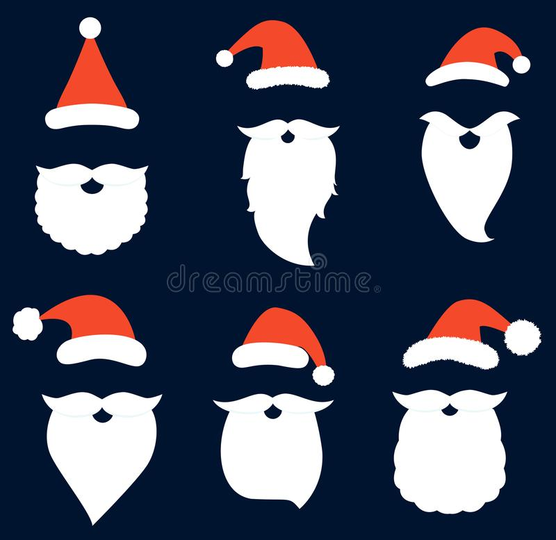 Vector set with Santa hats, beards and mustaches. For photo booth props, Christmas decor and holiday greeting cards vector illustration