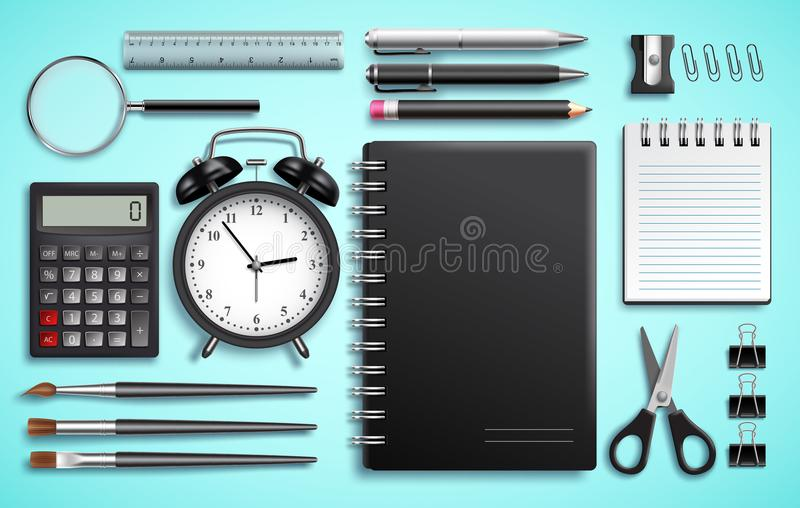 Vector set of school items and office supplies or modern business stationery vector illustration