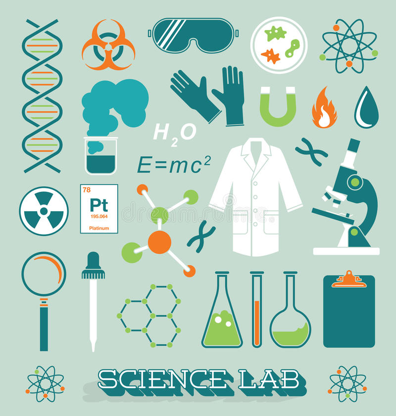 Vector Set: Science Lab Icons and Objects. Collection of science lab related objects and silhouettes stock illustration