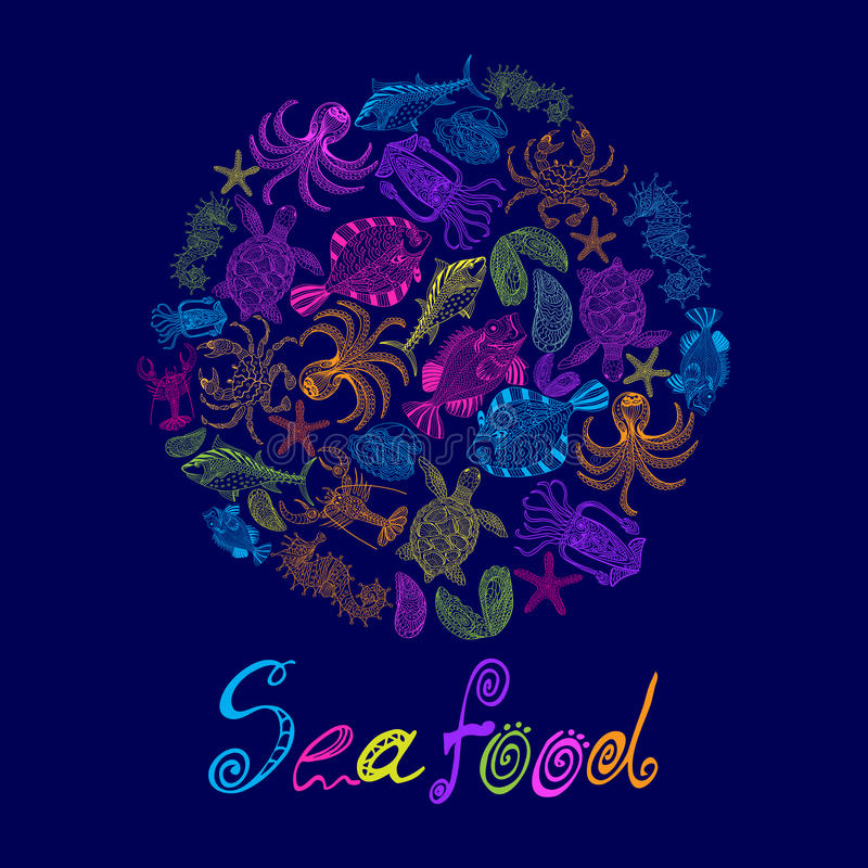 Vector set of a seafood in circle with the inscription. stock image