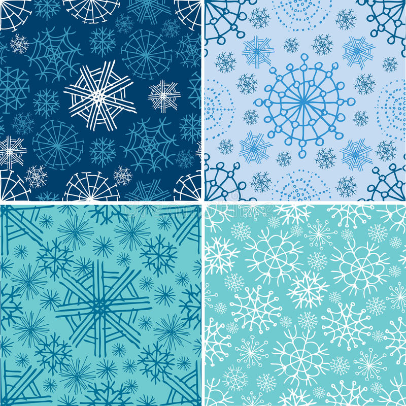 Vector set of seamless Christmas patterns vector illustration