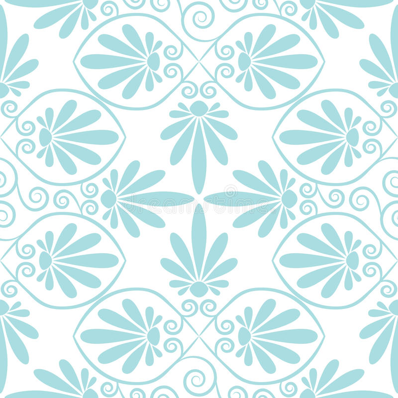 Vector set seamless floral ornament. Set seamless cute pink and blue Greek floral pattern, endless texture for wallpaper or scrap booking vector illustration