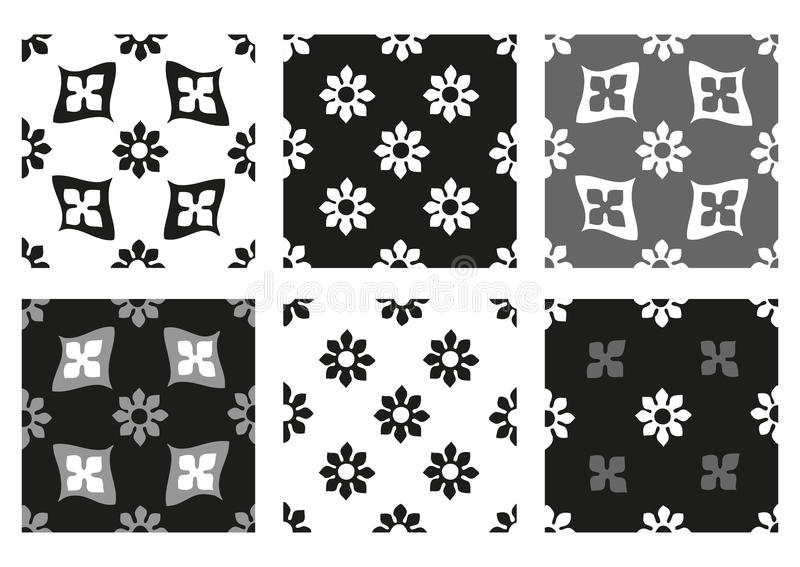 Vector set of seamless floral patterns black and white vintage backgrounds vector illustration