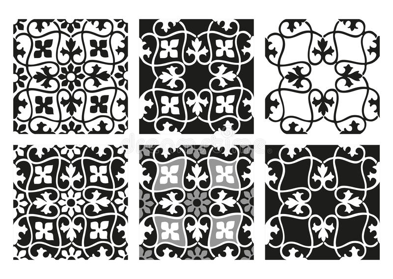 Download Vector Set Of Seamless Floral Patterns Black And White Vintage Backgrounds Stock