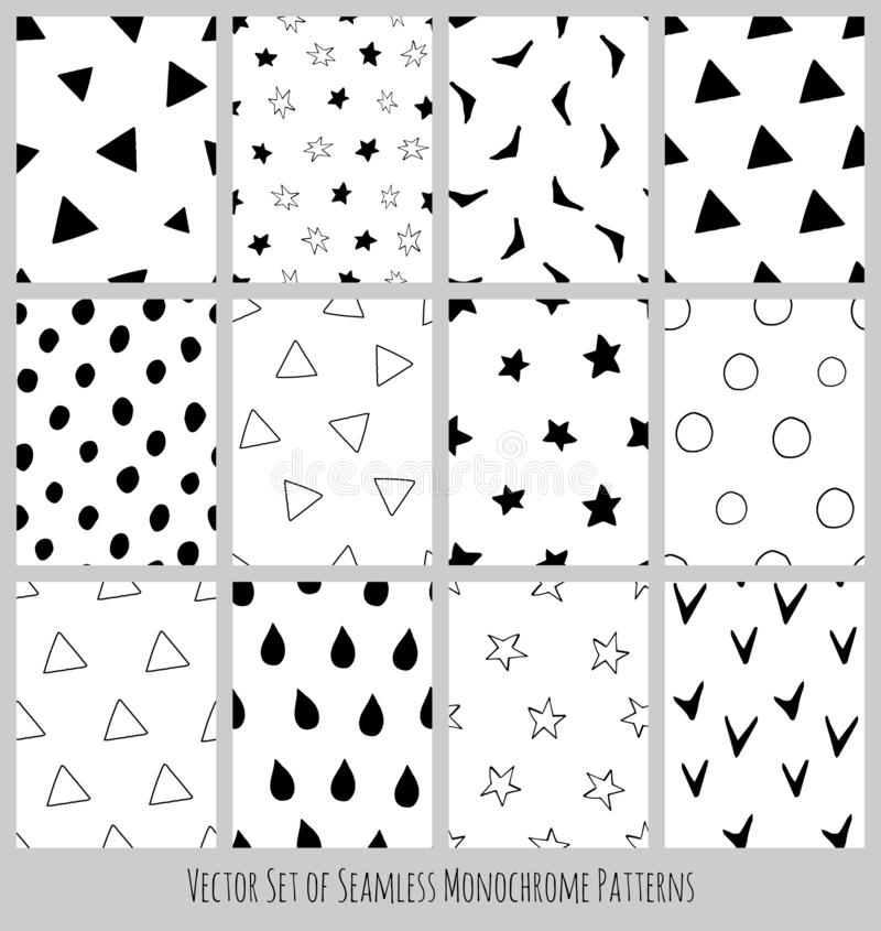 Seamless Black and White Polka Dot Vector Patterns royalty free stock image
