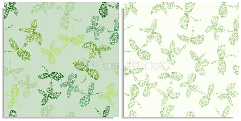 A vector set of a seamless pattern with sprigs of mint. Hand-drawn on sheet at the graphic style. Only lines, compound path, good stock photos