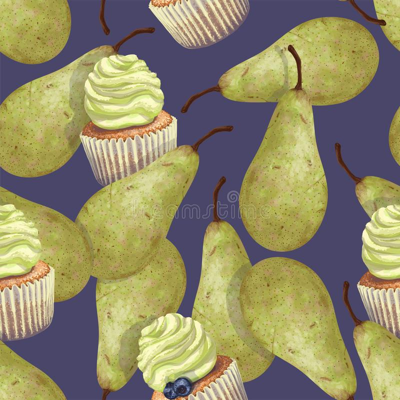 Vector set of seamless patterns with hand-drawn green pears conference with a crumbly, gentle wet biscuit cupcake with a stunning vector illustration