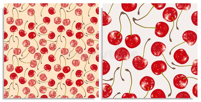 Vector set of seamless patterns with hand-drawn juicy and delicious rich red cherries, with highlights and rewrites vector illustration