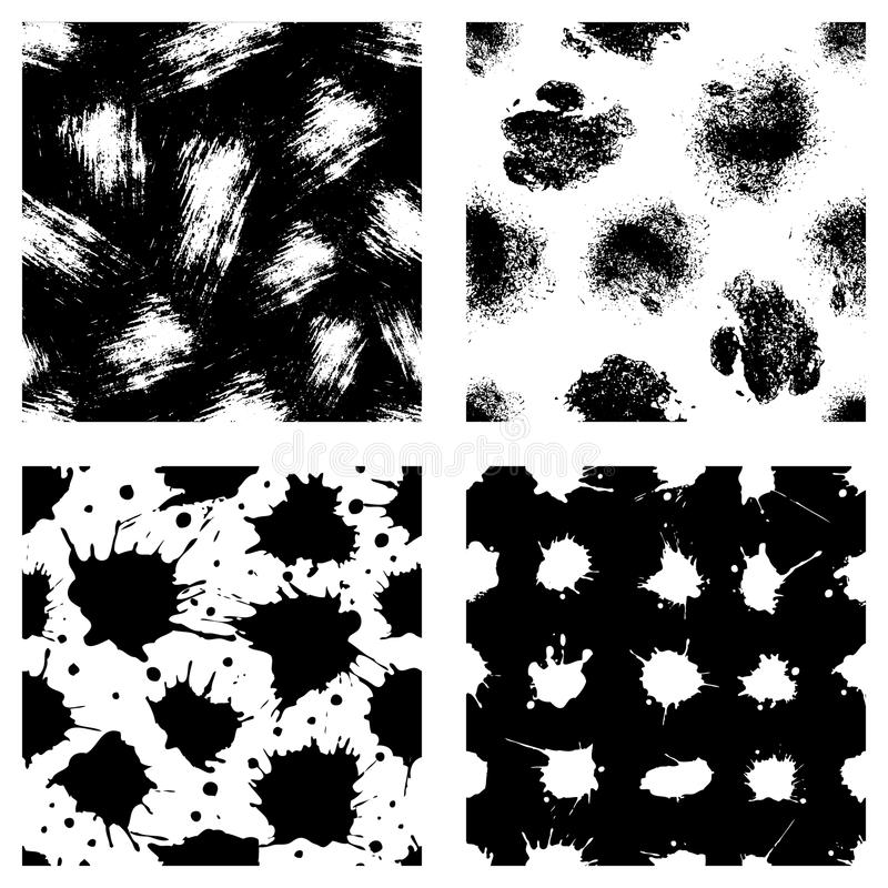 Vector set of seamless patterns, tiles with inc splash, blots, smudge and brush strokes. Grunge endless template for web backgroun. D, prints, wallpaper, surface stock illustration