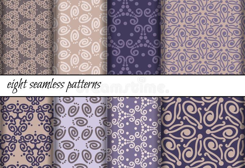 Vector set of seamless patterns stock illustration