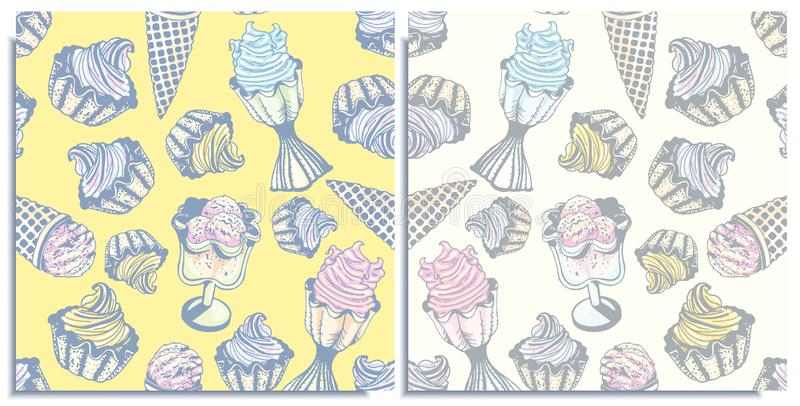 Vector set of seamless patterns with a wonderful balls cone ice cream,berry , lemon, flavor mint ice cream in bowls. Hand-drawn, royalty free stock photos