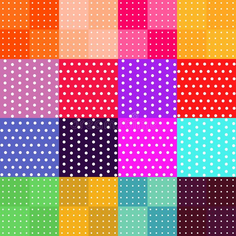 Vector set of 16 seamless polka dot patterns. stock illustration