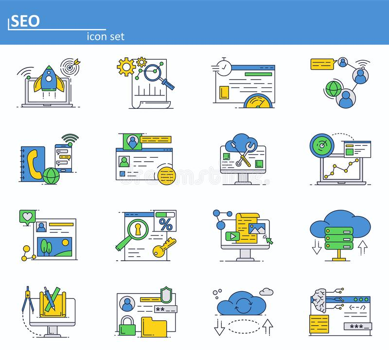 Vector set of SEO optimization and digital internet marketing. Online services, cloud storage and social media networks vector illustration