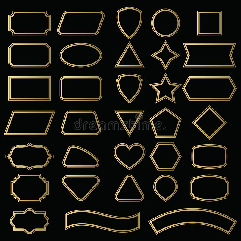 Vector set shapes and borders for message in outline. vector illustration