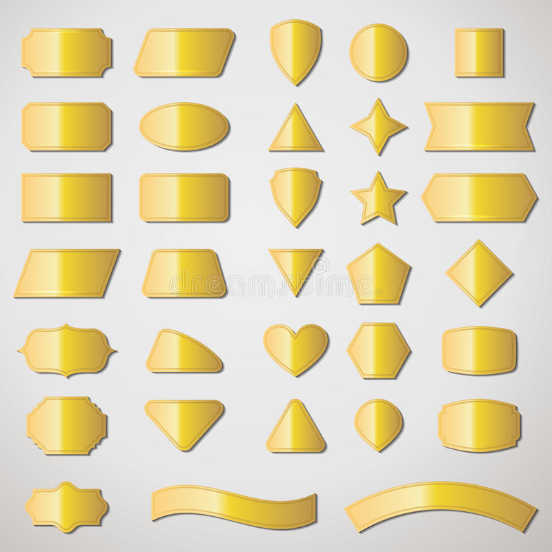 Vector set shapes and gold labels for message stock illustration