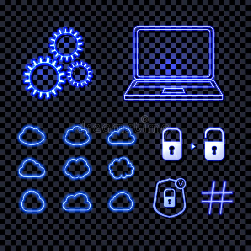 Vector Set of Shining Blue Neon Technology Icons, Bright Lights, Wheel, Laptop, Data Clouds, Hashtag and Security Locks. vector illustration