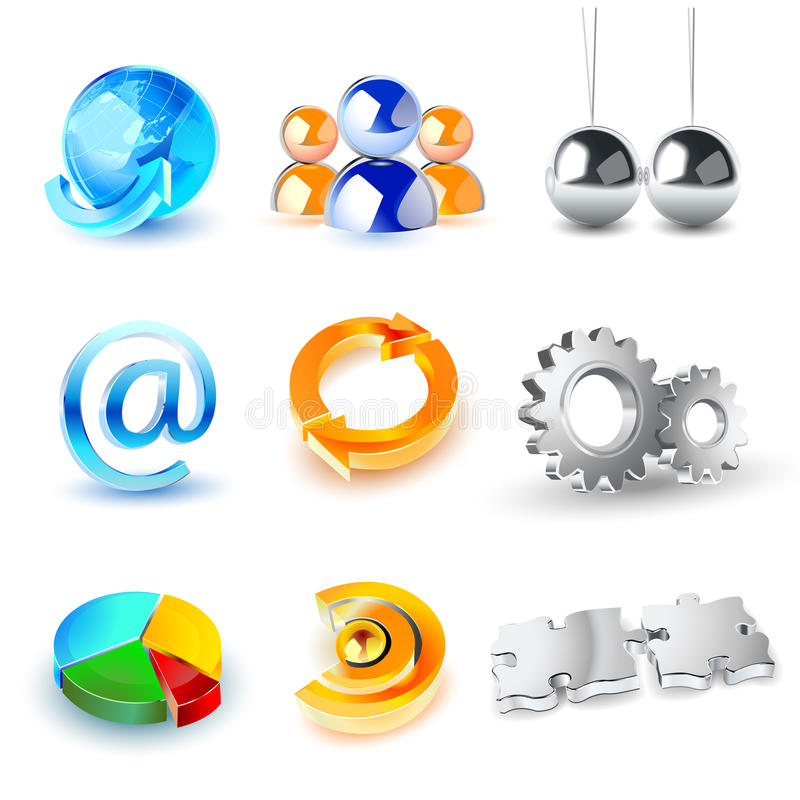 Download Vector Set Of Shiny 3d Icons Stock Vector - Image: 9848992
