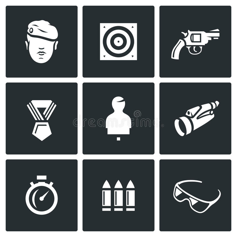 Vector Set of Shooting Range Icons. Soldier, Shoot, Weapon, Award, Mannequin, Observation, Speed, Arsenal, Safety. vector illustration