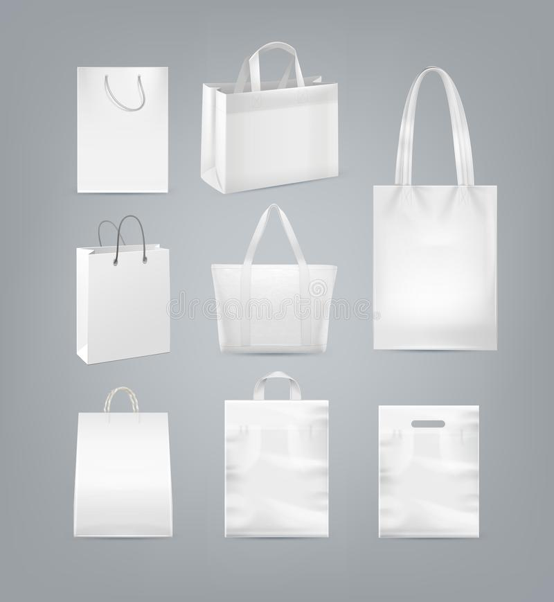 Vector set of shopping bags with handle made from white paper, plastic and canvas isolated on background stock illustration