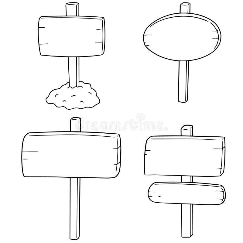 Vector set of signboard. Hand drawn cartoon, doodle illustration vector illustration