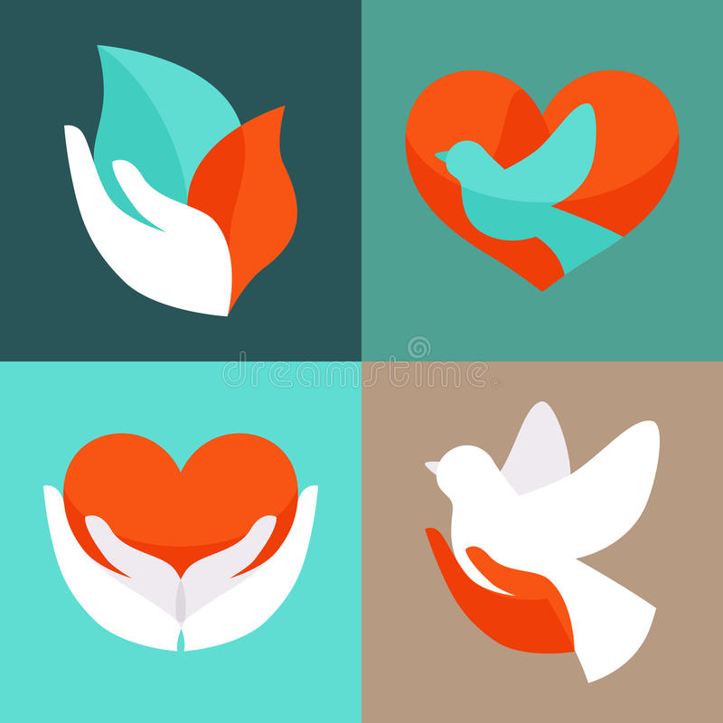 Vector set with signs of love and care stock illustration