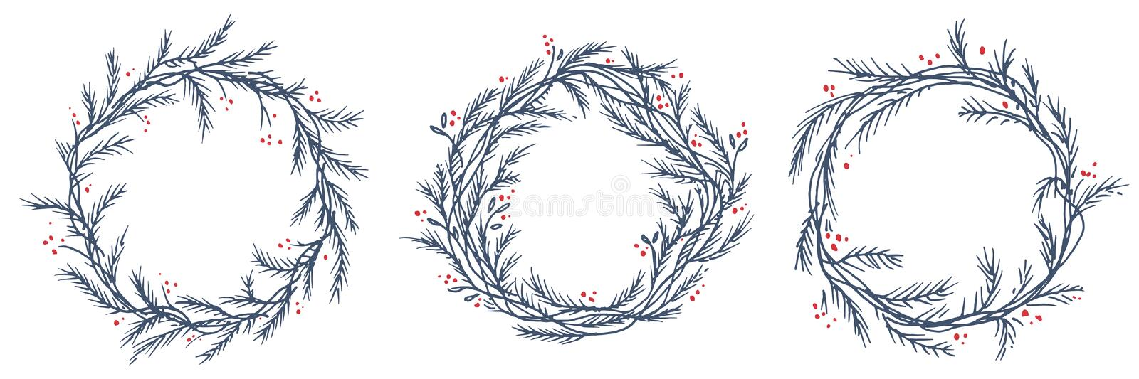Vector set of silhouette christmas wreath frames royalty free illustration