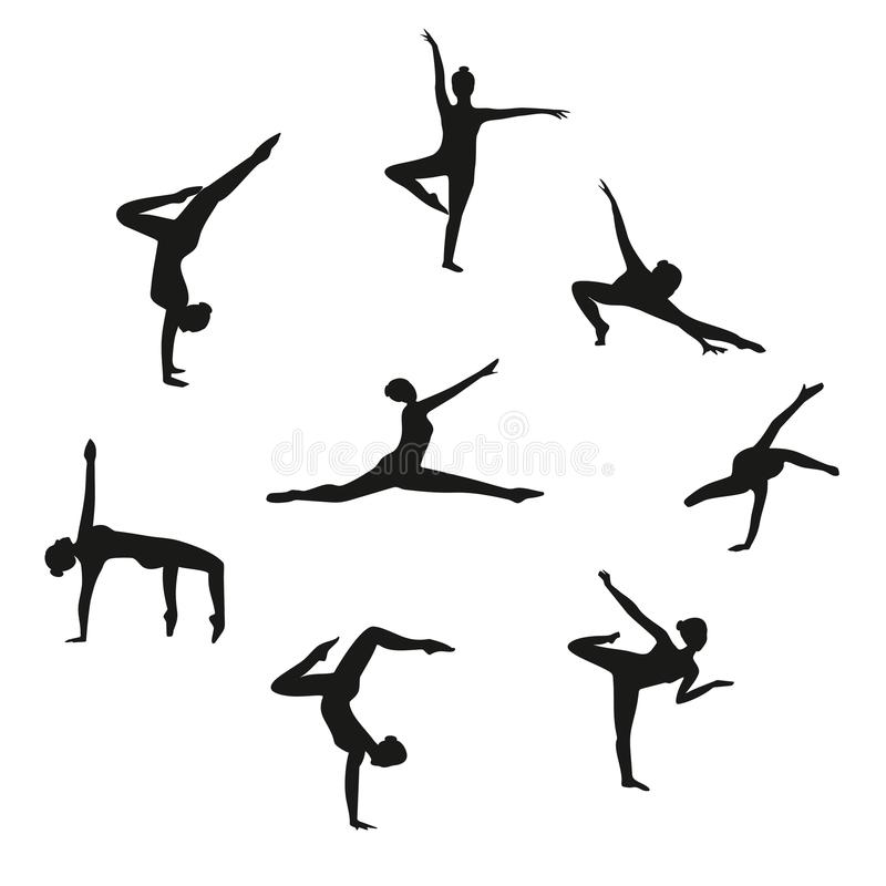 Vector Set of silhouette dancing girl. Set of women dancers dancing modern dance. Silhouette women dancing on white background stock illustration