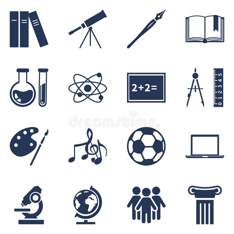 Vector Set of Silhouette Icons - School Subject Icons vector illustration