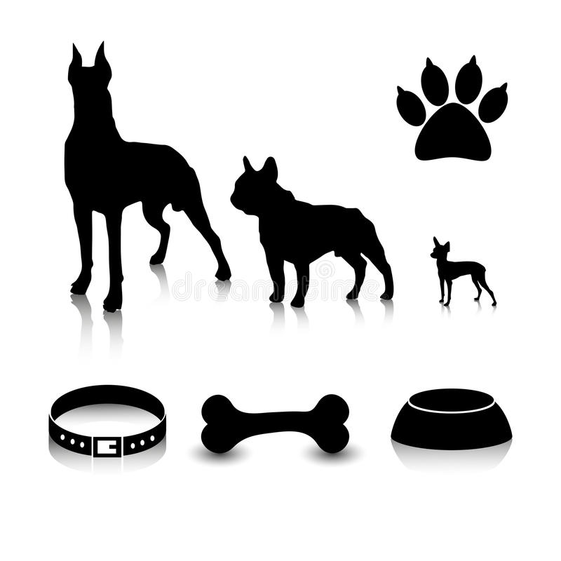 Vector set of silhouettes of dogs of different sizes and subjects. Feeder, bone, collar and a trace of foot. royalty free illustration