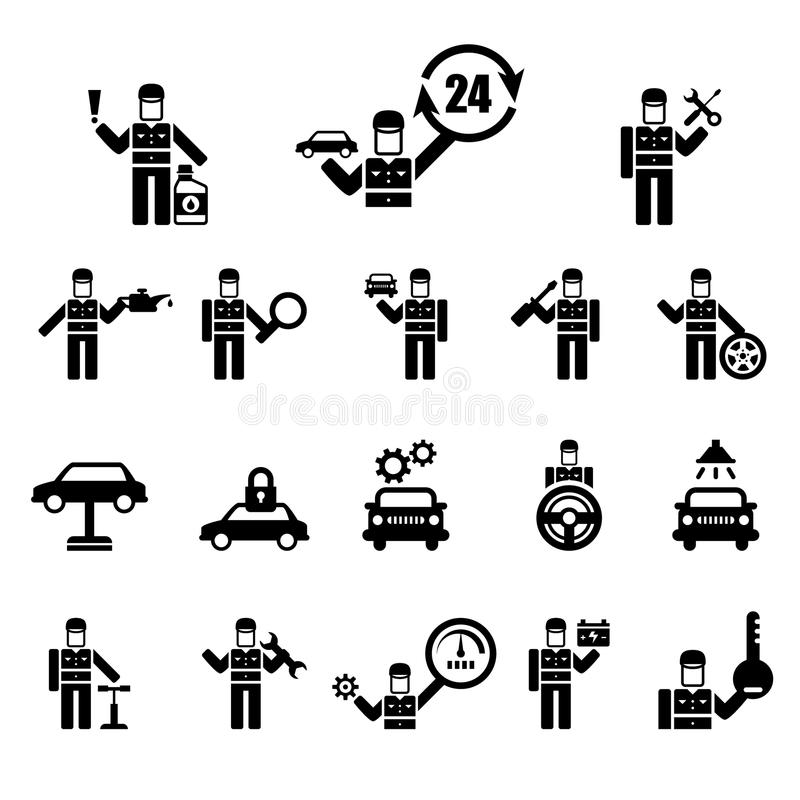 Vector set of simple icons related to car maintenance and repair. Elements for auto shop or mechanic service vector illustration