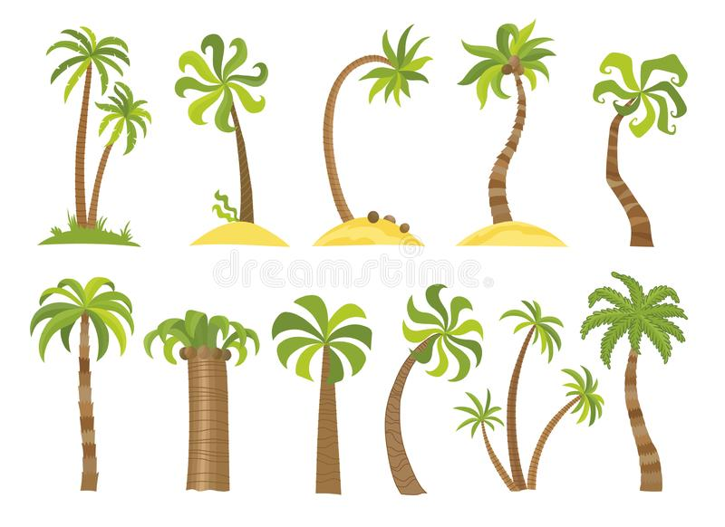 Vector set of simple palm trees. Flat cartoon palms on white background. royalty free illustration