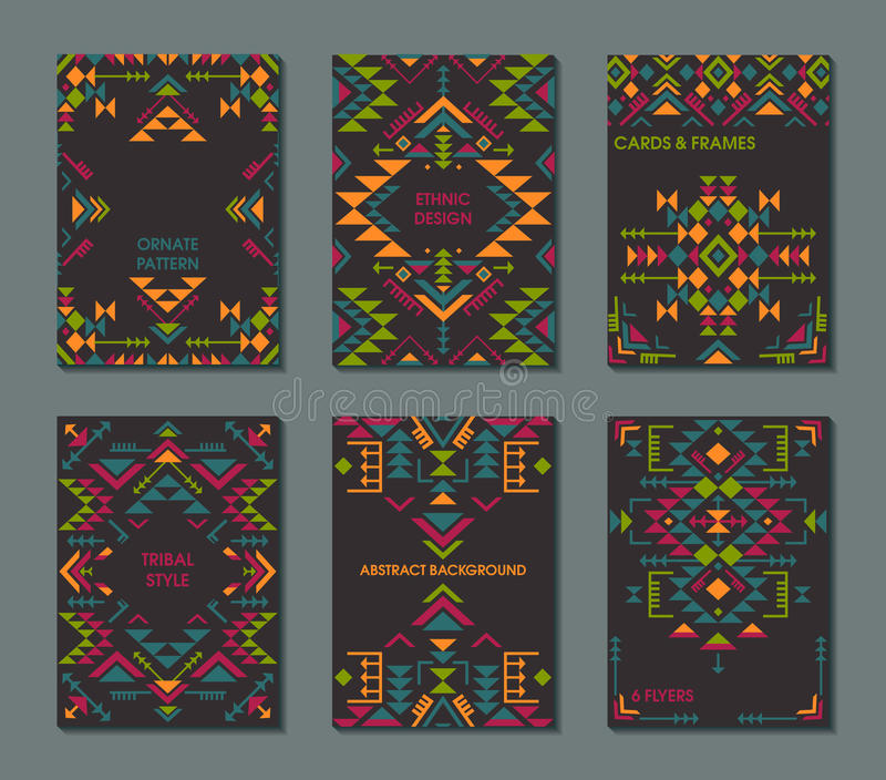 Vector set of six cards. Ethnic ornate pattern with geometric shapes. stock illustration