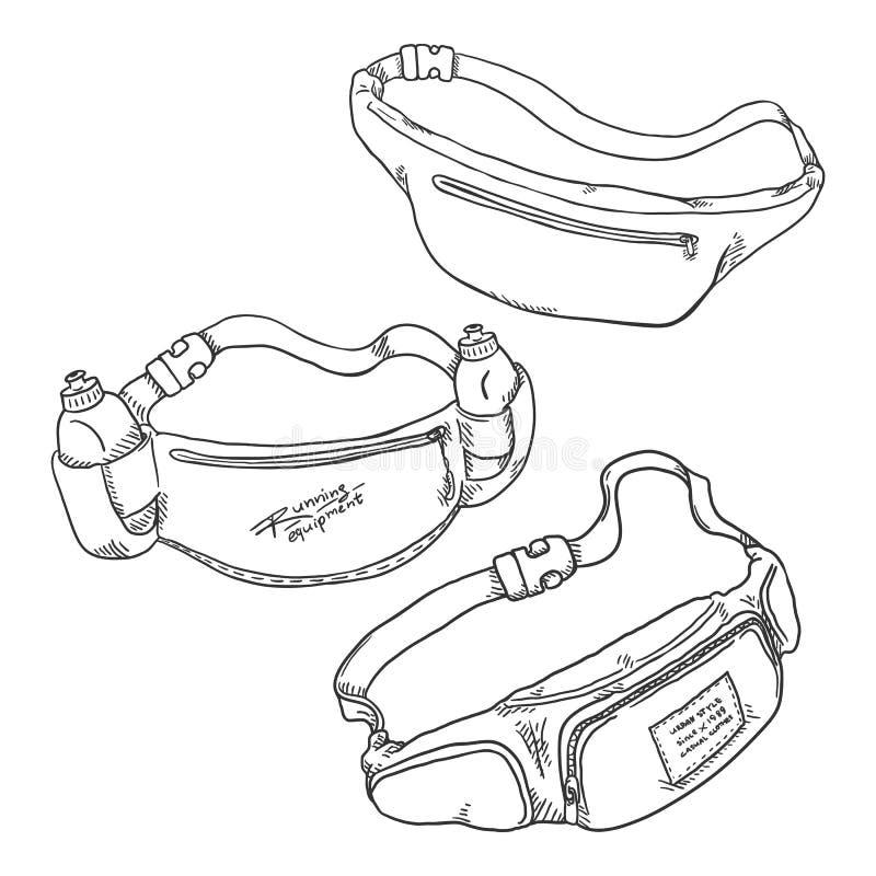 Vector Set of Sketch Belt Bags royalty free illustration