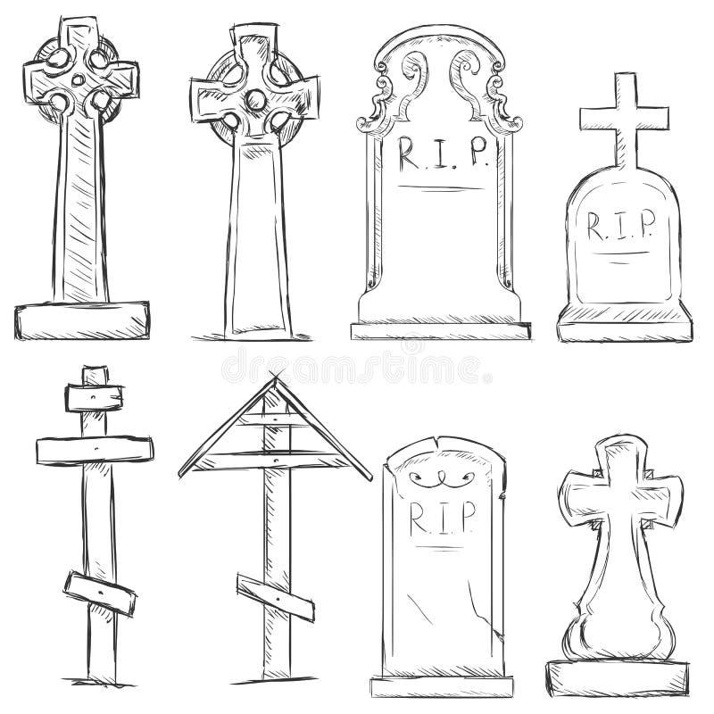 Vector Set of Sketch Cemetery Tombstones vector illustration