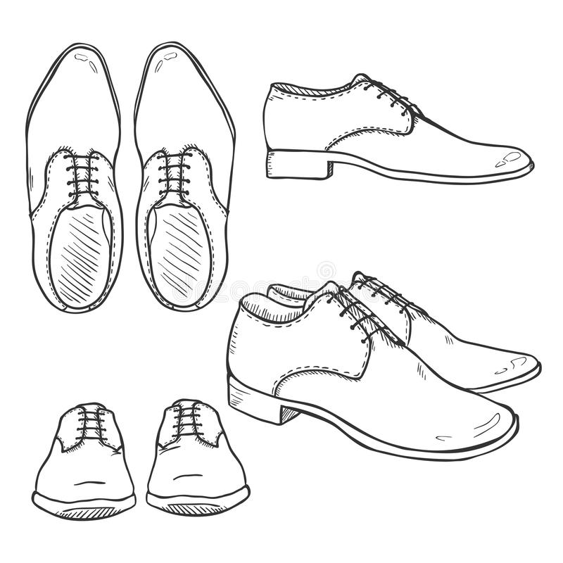 Vector Set Of Sketch Classic Men Shoes. Top, Side And ...