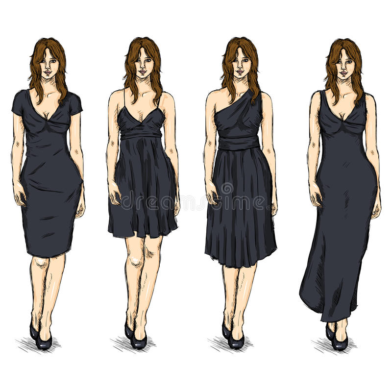 Vector Set of Sketch Female Fashion Models in Dress vector illustration