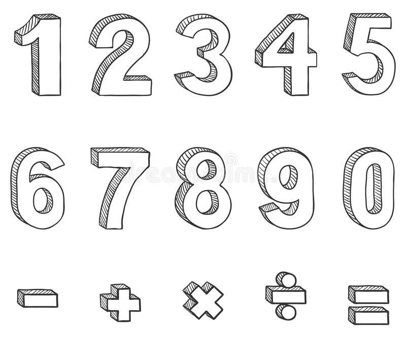 Vector Set of Sketch Figures and Mathematical Signs vector illustration