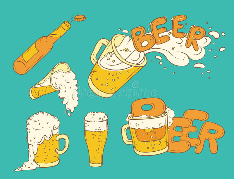 Vector set sketch illustration pint, tumbler and bottle of beer. Bubbles and foam pouring from mug. Drink ale in different glasswa stock illustration