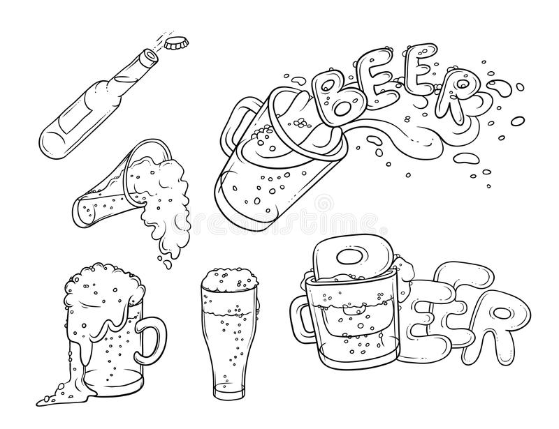 Vector set sketch illustration pint, tumbler and bottle of beer. Bubbles and foam pouring from mug. Drink ale in vector illustration