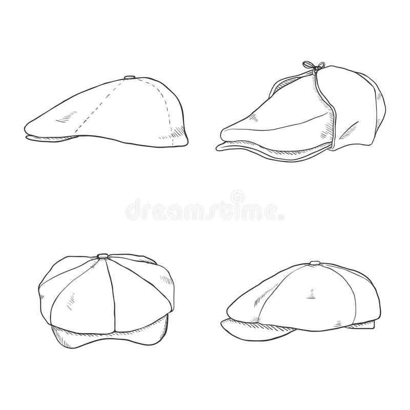 Vector Set of Sketch Retro Tweed Caps. Old Fashioned Style royalty free illustration