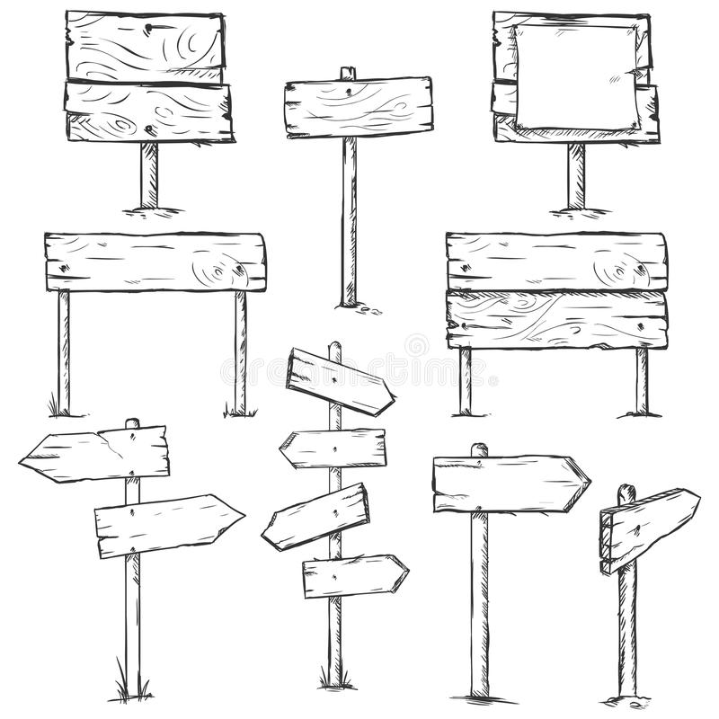 Vector Set of Sketch Signposts. On White Background stock illustration