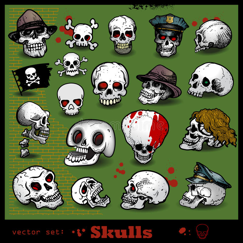 Download Vector set of skulls stock vector. Illustration of angry - 26579862