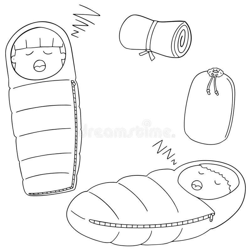 Vector set of sleeping bag vector illustration